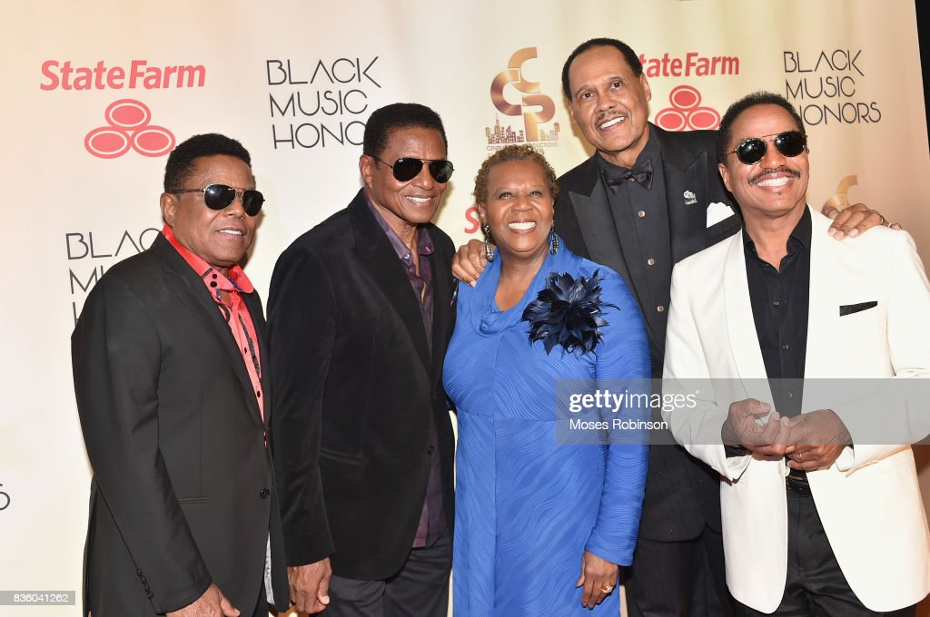 Tito Jackson, Jackie Jackson of The Jacksons, President and COO of Central City Produtions Erma Davis, Chairman and CEO of Central City Productions Chairman and CEO of Central City Productions Don Jackson, and Marlon Jackson of The Jacksons arrive at the 2017 Black Music Honors at Tennessee Performing Arts Center on August 18, 2017 in Nashville, Tennessee.