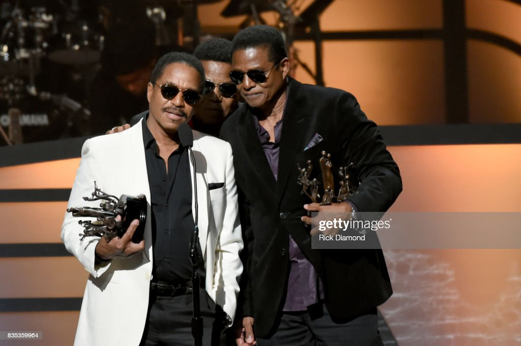 Tito Jackson, Marlon Jackson and Jackie Jackson of The Jacksons accept an award onstage at the 2017 Black Music Honors at Tennessee Performing Arts Center on August 18, 2017 in Nashville, Tennessee.