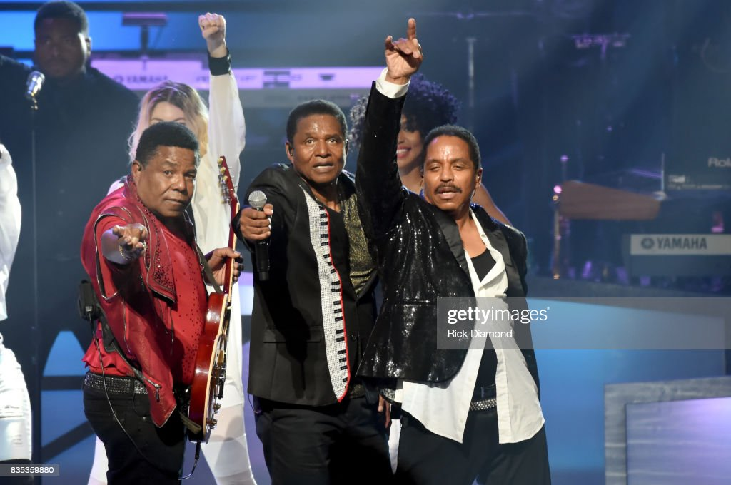 Tito Jackson, Marlon Jackson and Jackie Jackson of The Jacksons onstage at the 2017 Black Music Honors at Tennessee Performing Arts Center on August 18, 2017 in Nashville, Tennessee.