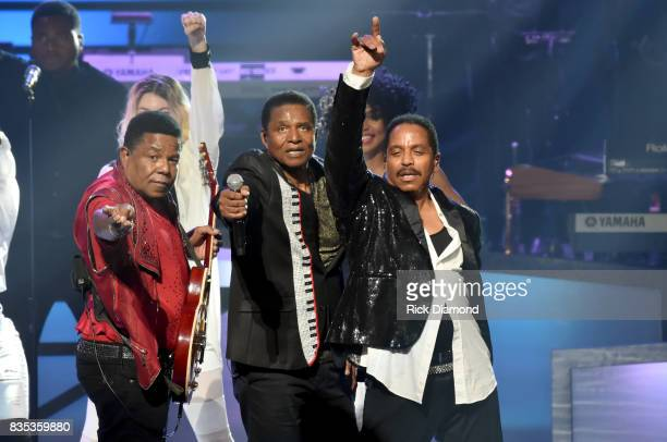 Tito Jackson Marlon Jackson and Jackie Jackson of The Jacksons onstage at the 2017 Black Music Honors at Tennessee Performing Arts Center on August...