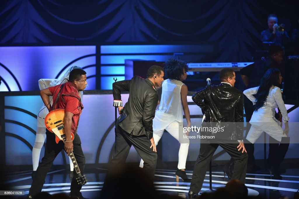 Tito Jackson,Jackie Jackson and Marlon Jackson of The Jacksons onstage at the 2017 Black Music Honors at Tennessee Performing Arts Center on August 18, 2017 in Nashville, Tennessee.