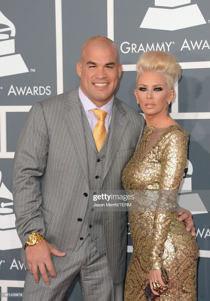 Tito Ortiz (L) and actress Jenna Jameson arrive at the 55th Annual GRAMMY Awards at Staples Center on February 10, 2013 in Los Angeles, California.