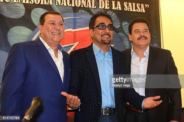 Tito Rojas Nestor Galan 'El Buho Loco' and Lalo Rodriguez attend 'Dia Nacional de la Zalza' press conference on March 10 2016 in San Juan Puerto Rico