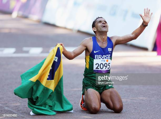 Tito Sena of Brazil celebrates winning the Men's T46 Marathon on day 11 of the London 2012 Paralympic Games at Olympic Stadium on September 9 2012 in...