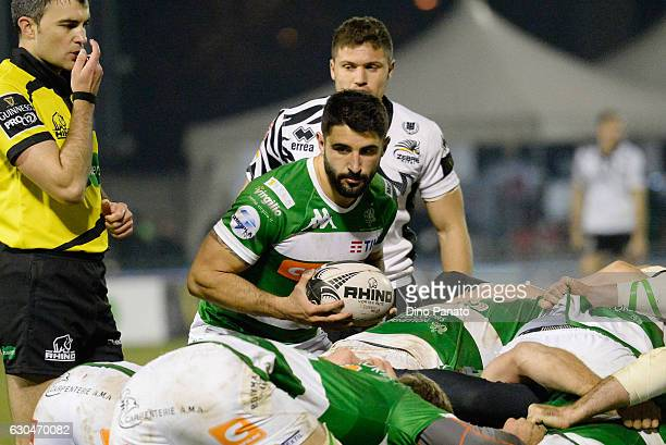 Tito Tebaldi of Benetton Treviso holds the ball during the Guinness Pro 12 match between Benetton Treviso and Zebre Rugby at Stadio comunale di...
