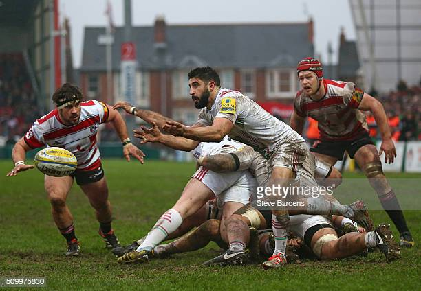 Tito Tebaldi of Harlequins passes the ball during the Aviva Premiership match between Gloucester Rugby and Harlequins at Kingsholm Stadium on...