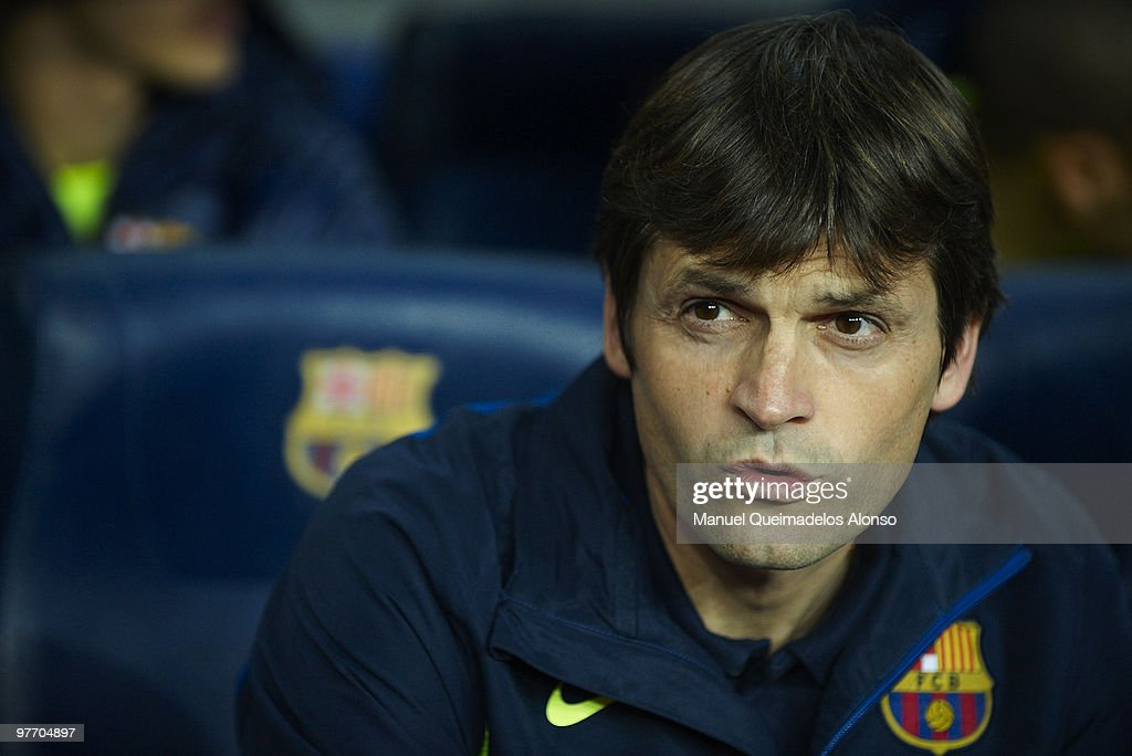 <a gi-track='captionPersonalityLinkClicked' href=/galleries/search?phrase=Tito+Vilanova&family=editorial&specificpeople=5807709 ng-click='$event.stopPropagation()'>Tito Vilanova</a>, assistant coach of FC Barcelona looks on before the La Liga match between Barcelona and Valencia at the Camp Nou Stadium on March 14, 2010 in Barcelona, Spain. Barcelona won 3-0.