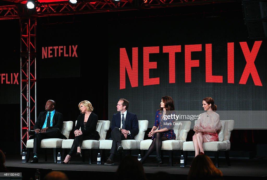 Titus Burgess Jane Krakowski Robert Carlock Tina Fey and Ellie Kemper speak about the 'The Unbreakable Kimmy Schmidt' during the Netflix TCA Press...