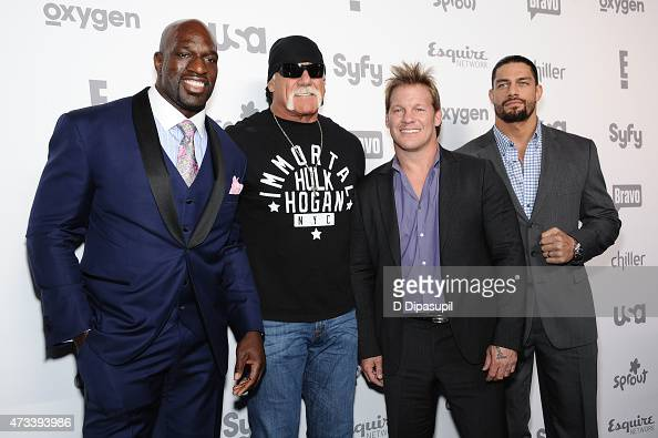 Titus O'Neil Hulk Hogan Chris Jericho and Roman Reigns attend the 2015 NBCUniversal Cable Entertainment Upfront at The Jacob K Javits Convention...