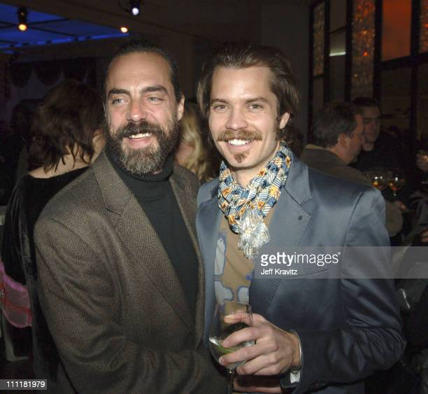 Titus Welliver and Timothy Olyphant during HBO's 'Deadwood' Season 2 Los Angeles Premiere After Party in Los Angeles California United States