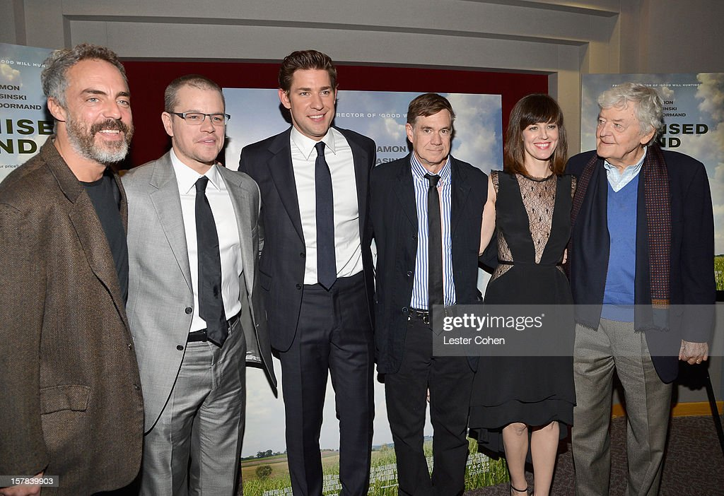 Titus Welliver, Matt Damon, John Krasinski, Gus Van Sant, Rosemarie DeWitt and Hal Holbrook attend the ''Promised Land' Los Angeles premiere at Directors Guild Of America on December 6, 2012 in Los Angeles, California.