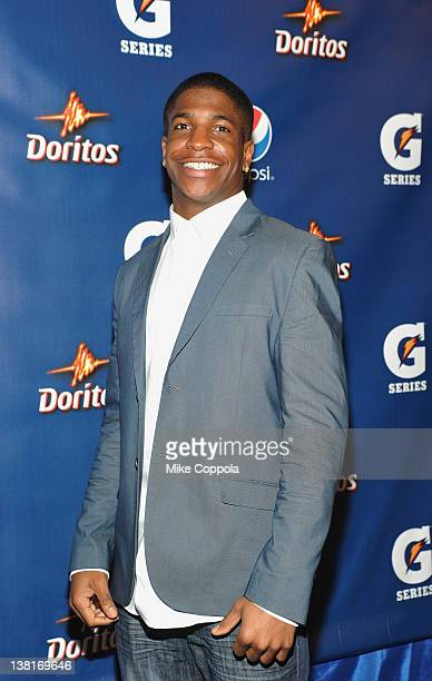 Titus Young of the Detroit Lions attends Pepsi PreSuper Bowl Party at Indiana State Museum on February 3 2012 in Indianapolis Indiana