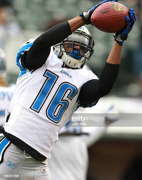 Titus Young of the Detroit Lions catches a pass during the game against the Oakland Raiders at Oco Coliseum on December 18 2011 in Oakland California...