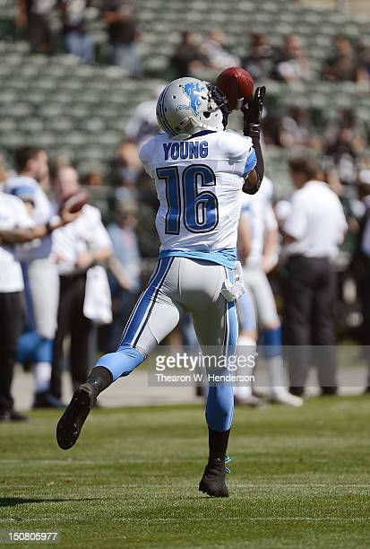 Titus Young of the Detroit Lions catches a pass in pregame warm ups before their game against the Oakland Raiders at Oco Coliseum on August 25 2012...