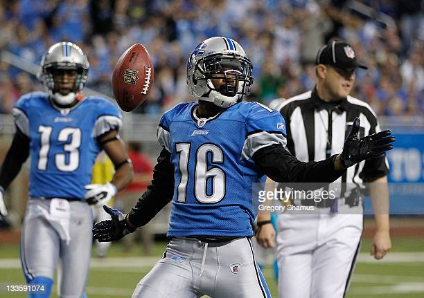 Titus Young of the Detroit Lions celebrate a second quarter touchdown while playing the Carolina Panthers at Ford Field on November 20 2011 in...
