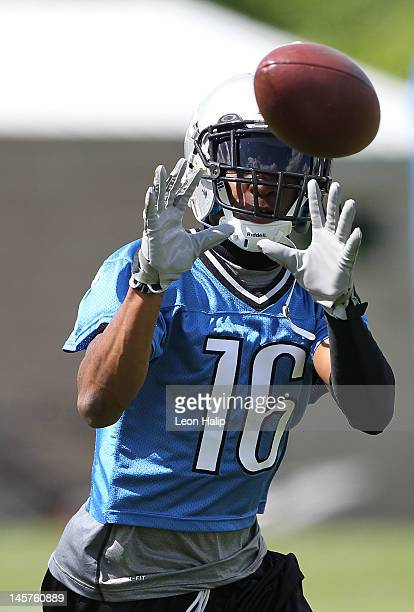 Titus Young of the Detroit Lions goes through the drills during the morning practice session at Detroit Lions minicamp on June 4 2012 in Allen Park...