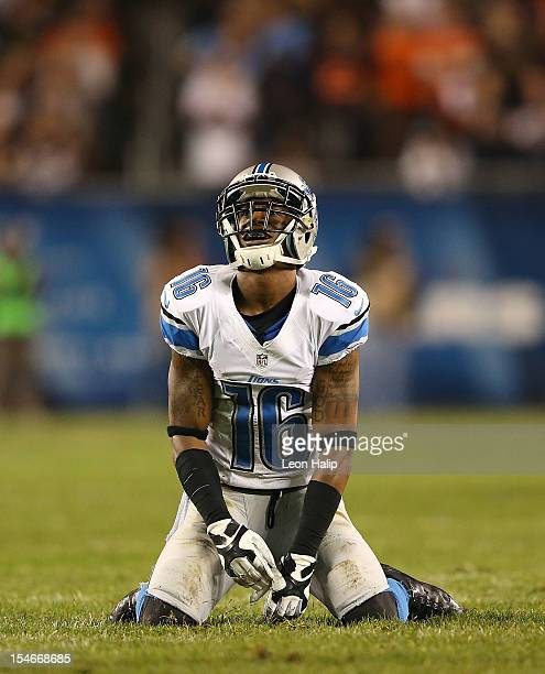 Titus Young of the Detroit Lions reacts after droping a pass during the game against the Chicago Bears at Soldier Field on October 22 2012 in Chicago...