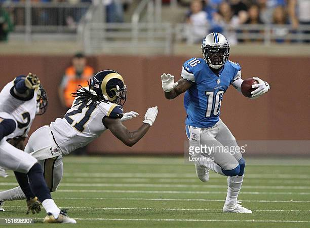 Titus Young of the Detroit Lions runs for a short gain during the second quarter of the game against the St Louis Rams at Ford Field on September 9...
