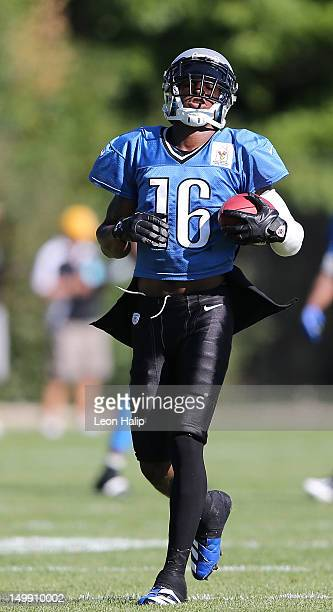 Titus Young of the Detroit Lions runs through the morning one on one drills during Lions training camp on August 06 2012 in Allen Park Michigan