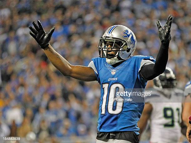 Titus Young reacts to a late fourth quarter call during the game against the Seattle Seahwaks at Ford Field on October 28 2012 in Detroit Michigan...