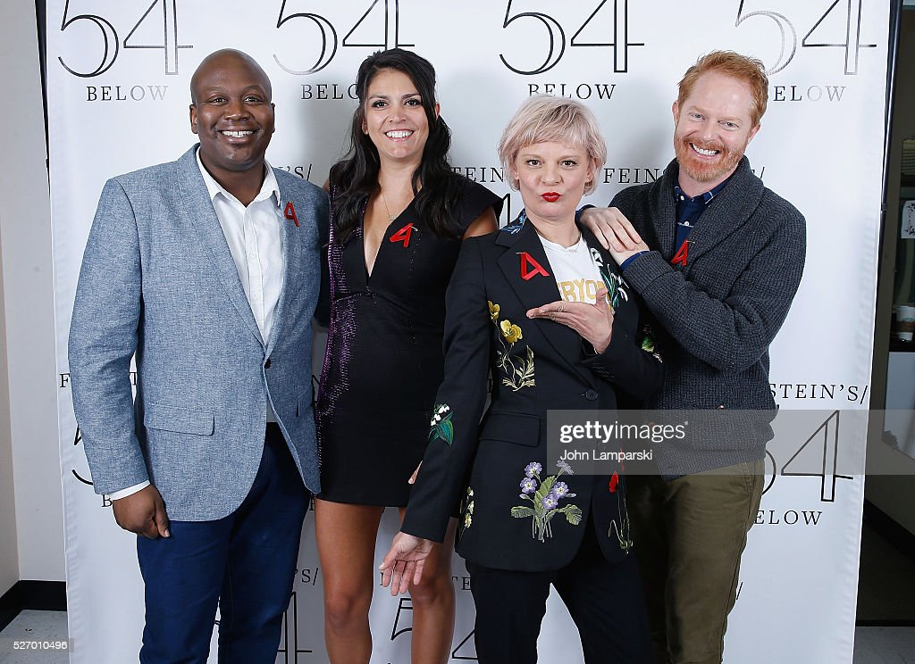 Tituss Burgess, Cecily Strong, Martha Plimpton and Jesse Tyler Ferguson attend Broadway Acts For Women:a star-studded kight of karaoke and comedy at 54 Below on May 1, 2016 in New York City.