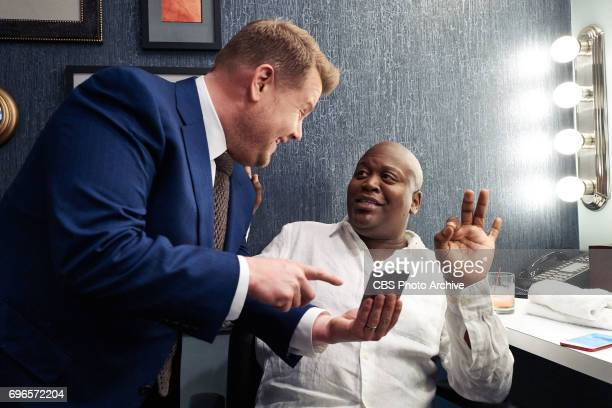 Tituss Burgess chats in the green room with James Corden during 'The Late Late Show with James Corden' Wednesday June 14 2017 On The CBS Television...