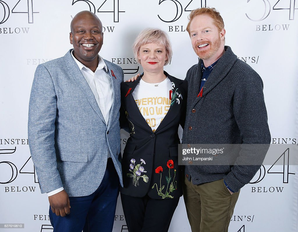 Tituss Burgess, Martha Plimpton and Jesse Tyler Ferguson attend Broadway Acts For Women:a star-studded kight of karaoke and comedy at 54 Below on May 1, 2016 in New York City.