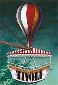 Tivoli Gardens Denmark Danish Travel Poster
