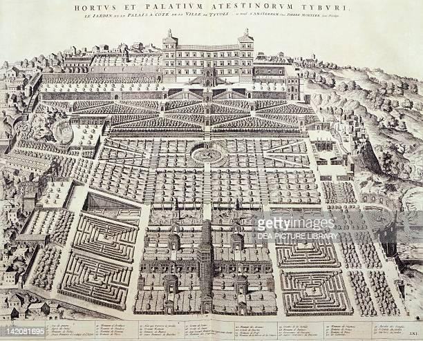 Tivoli Gardens Italy 18th Century Engraving