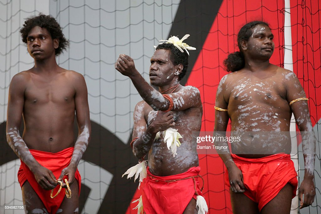 A Tiwi dance and music workshop takes place during an Essendon Bombers AFL media opportunity at True Value Solar Centre on May 27, 2016 in Melbourne, Australia.