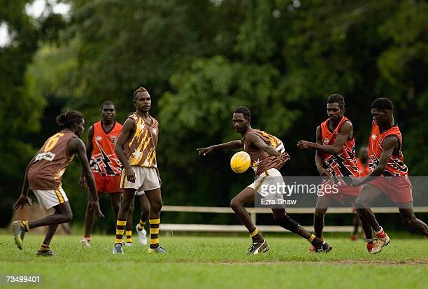 Tiwi Island residents play Australian Rules football at their local oval March 5 2007 on the Tiwi Island Australia Australian Rules football holds a...