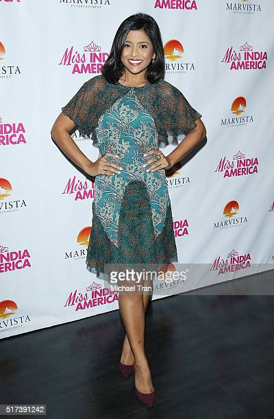 Tiya Sircar arrives at the Los Angeles premiere of 'Miss India America' held at Laemmle Royal Theatre on March 24 2016 in Santa Monica California