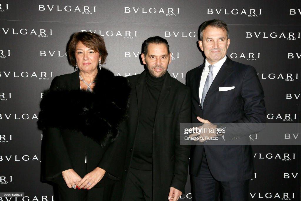 Tiziana Cuscuna, Roberto D'Amato and Lelio Gavazza attend Christmas Lights At Bvlgari Boutique Rome on December 7, 2017 in Rome, Italy.