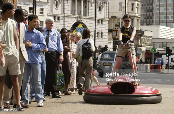 Tiziana Fracchiolla a 26 year old professional dancer uses an Airboard to beat traffic chaos in London caused Thursday by a 24hour strike by Tube...