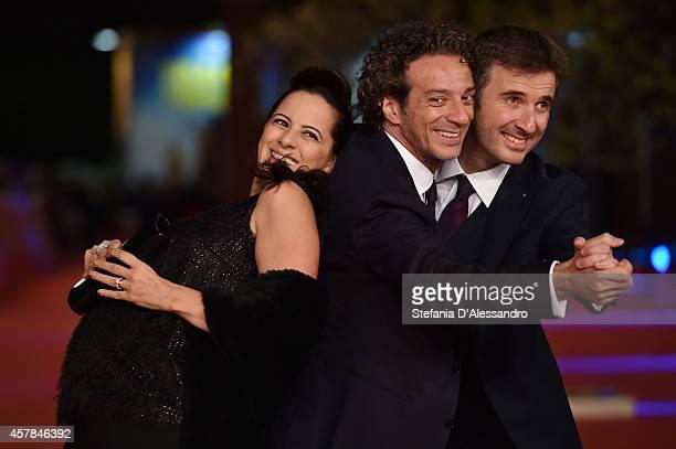 Tiziana Lodato Salvatore Ficarra and Valentino Picone attend the 'Andiamo A Quel Paese' red carpet during the 9th Rome Film Festival at Auditorium...