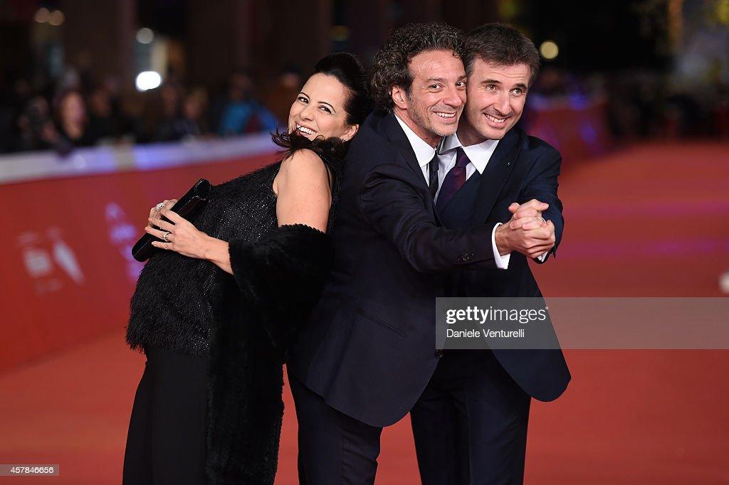 Tiziana Lodato Salvatore Ficarra and Valentino Picone attend the 'Andiamo A Quel Paese' red carpet during the 9th Rome Film Festival at Auditorium Parco Della Musica on October 25, 2014 in Rome, Italy.