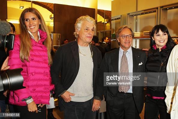 Tiziana Rocca actor Michele Placido CEO of Tod's Diego Della Valle and TV presenter Lorena Bianchetti attends Fay flagship store opening at Via...