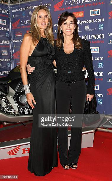 Tiziana Rocca and Emanuela Folliero attend the Capri Hollywood Film Festival dinner party at Old Fashion Cafe on October 13 2008 in Milan Italy
