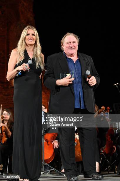 Tiziana Rocca and Gerard Depardieu attends Nations Award presentation on July 28 2017 in Taormina Italy