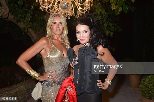 Tiziana Rocca and Lamia Khashoggi attend the Massimo Gargia Birthday Party at Les Moulins De Ramatuelle of Saint Tropez on August 18 2014 in Saint...