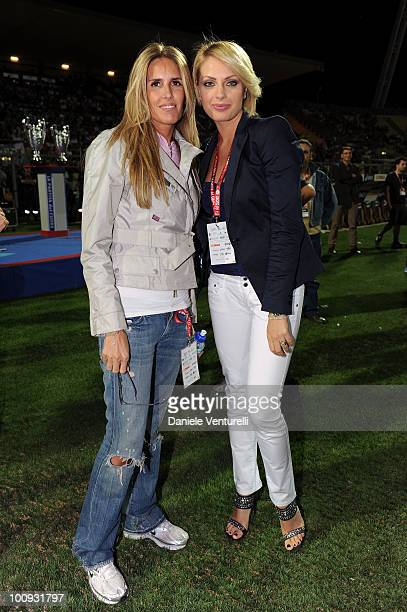 Tiziana Rocca and Manila Nazzaro attend the XIX Partita Del Cuore charity football game at on May 25 2010 in Modena Italy