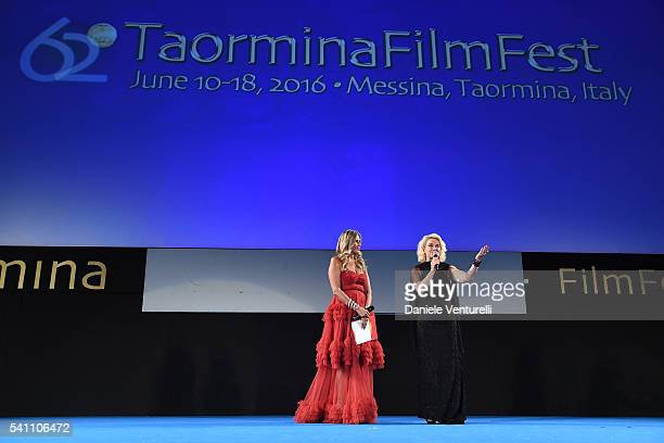 Tiziana Rocca and Monica Guerritore attend Baume Mercier Closing Night 62 Taormina Film Fest on June 18 2016 in Taormina Italy