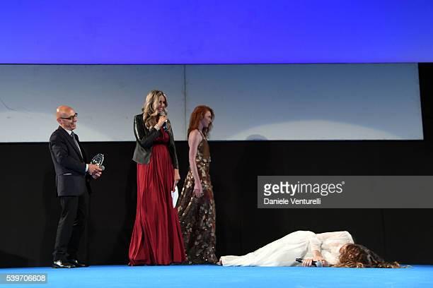 Tiziana Rocca and Sabrina Impacciatore attend 62 Taormina Film Fest Day 2 on June 12 2016 in Taormina Italy