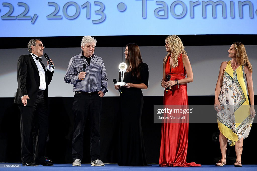 Tiziana Rocca Avi Lerner Mario Sesti Gisella Marengo and guest attend 'Taormina FilmFest Humanitarian Award' on June 16 2013 in Taormina Italy