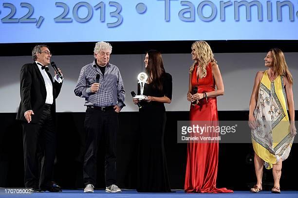 Tiziana Rocca Avi Lerner Mario Sesti Gisella Marengo and guest attend 'Taormina FilmFest Humanitarian Award' on June 16 2013 in Taormina Italy