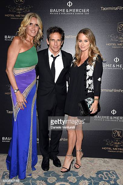 Tiziana Rocca Ben Stiller and Christine Taylor attend the Baume Mercier Promesse Taormina Award dinner during the 60th Taormina Film Fest on June 19...