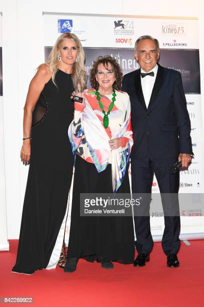 Tiziana Rocca Claudia Cardinale and Alberto Barbera pose with the award at the Kineo Diamanti Awards during the 74th Venice Film Festival at...