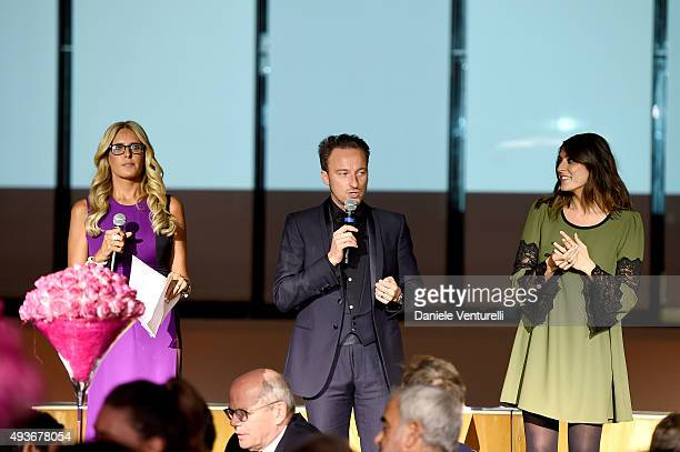 COVERAGE] Tiziana Rocca Francesco Facchinetti and Elisa Isoardi on stage during the Telethon Gala during the 10th Rome Film Fest on October 21 2015...