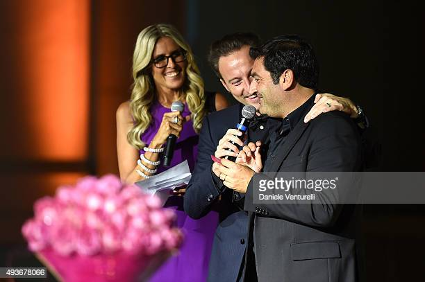 COVERAGE] Tiziana Rocca Francesco Facchinetti and Max Giusti on stage during the Telethon Gala during the 10th Rome Film Fest on October 21 2015 in...