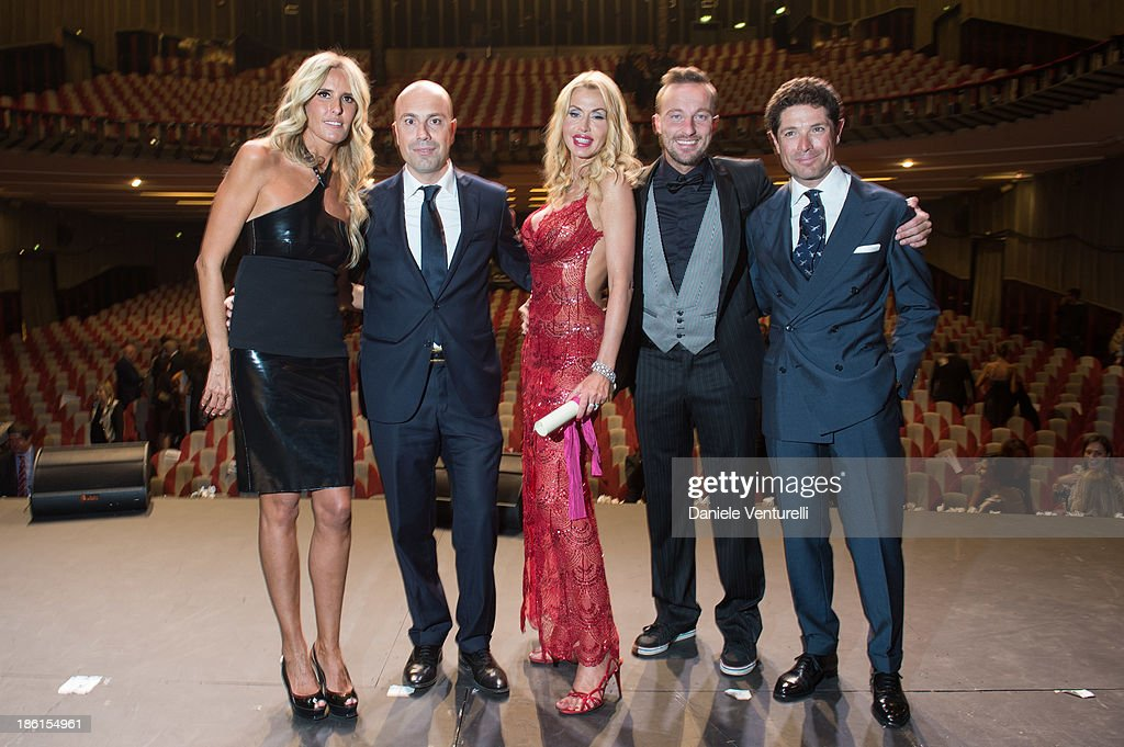 Tiziana Rocca, Francesco Minervini, Valeria Marini, Francesco Facchinetti and Matteo Marzotto attend 'Vorrei... 2013' Charity Event To Support Fondazione FFC at Teatro Sistina on October 28, 2013 in Rome, Italy.